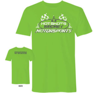 Green Shirt with the Hot Shots Secret Motorsports logo