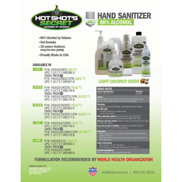 Gel Sanitizer Product Sheet
